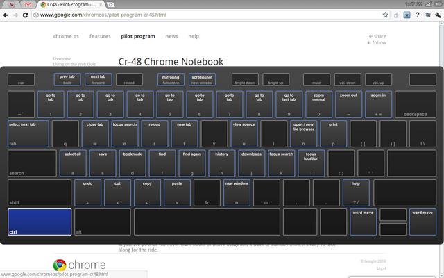 Google Cr-48 keyboard shortcut help screen