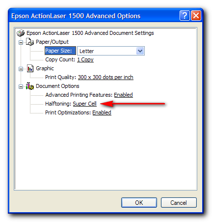 Epson 1500 Printer optimal settings