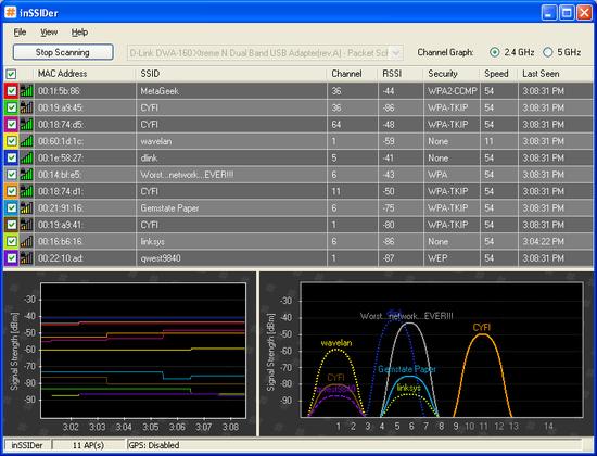 InSSIDer demo image