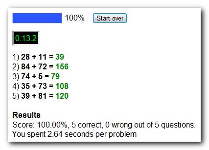 Free online math test