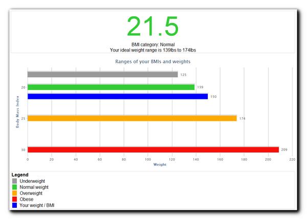 BMI calculator results