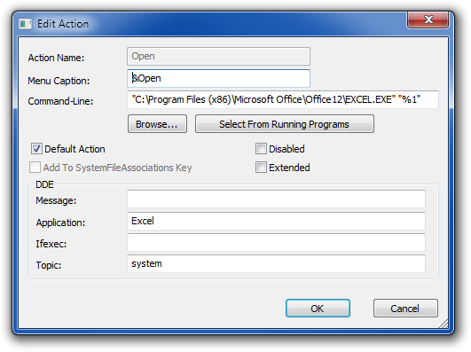 FileTypes dialog for XLS