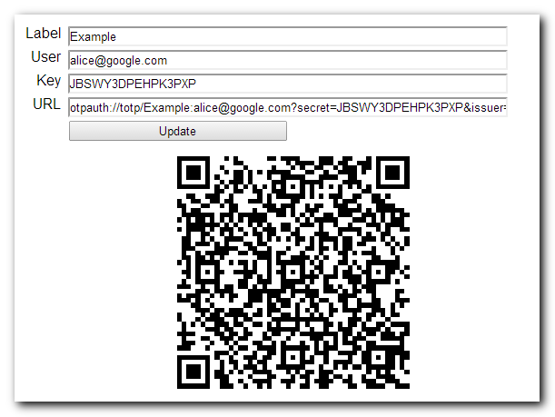 QR Code generator for Google Authenticator