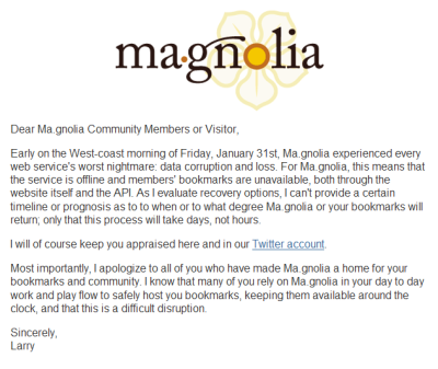 Magnolia's note about being down